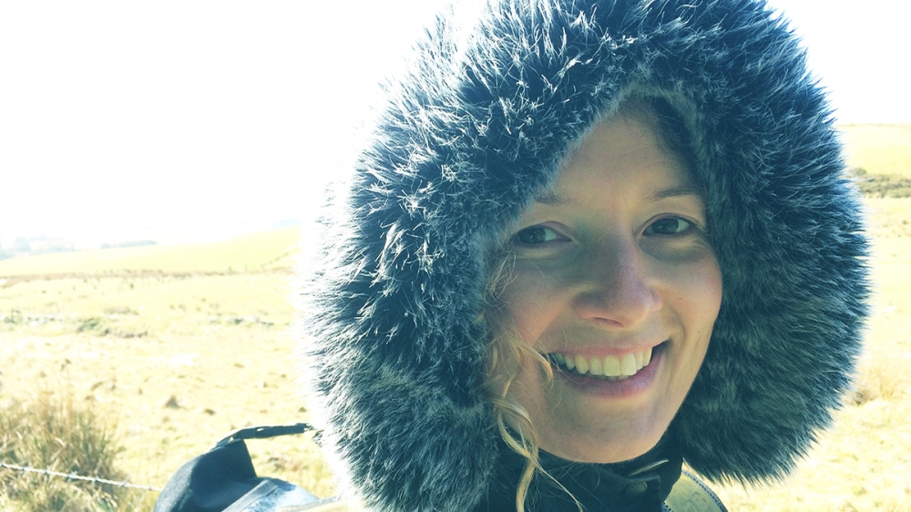 Catherine in parka hood